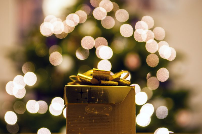 holiday gift under tree